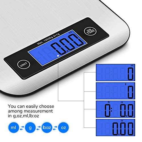 Digital Kitchen Scale Food Scales, CUSIBOX Postage Scale Multifunction Stainless Steel Accuracy with LCD Display and Tare Function for Baking and Cooking (Silver)