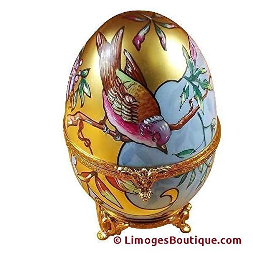 French Limoges Boxes Boutique STUDIO COLLECTION - ART NOUVEAU EGG W/BIRD - LIMOGES BOX AUTHENTIC PORCELAIN FIGURINE FROM FRANCE