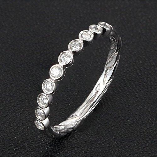 Band Eternity Bezel Half (Diamond Wedding Band Half Eternity Anniversary Ring 14K White Gold Bezel Art Deco Hand Crafted Twig)