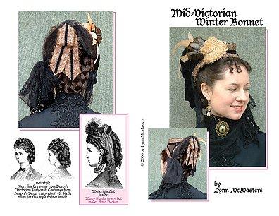 [1871 Mid-Victorian Winter Bonnet Pattern] (Equestrian Costume Hat)
