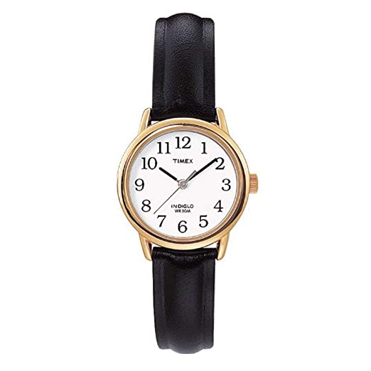 9f0cab462 Timex Women's T20433PF Quartz Gold Watch with White Dial Analogue Display  and Black Leather Strap: Timex: Amazon.co.uk: Watches