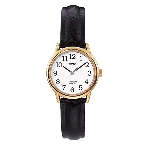 6afbfa699a6 Timex Women s T20433PF Quartz Gold Watch with White Dial Analogue Display  and Black Leather Strap  Timex  Amazon.co.uk  Watches