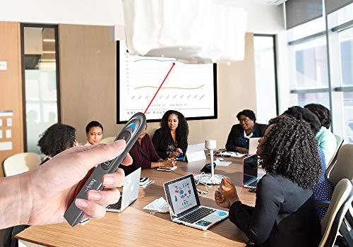Wireless Presenter FDA Verification Red Laser Pointer, RF 2.4GHz 200 ft Wireless Range, Compatible PC Laptops Tablets - Metallic Coating