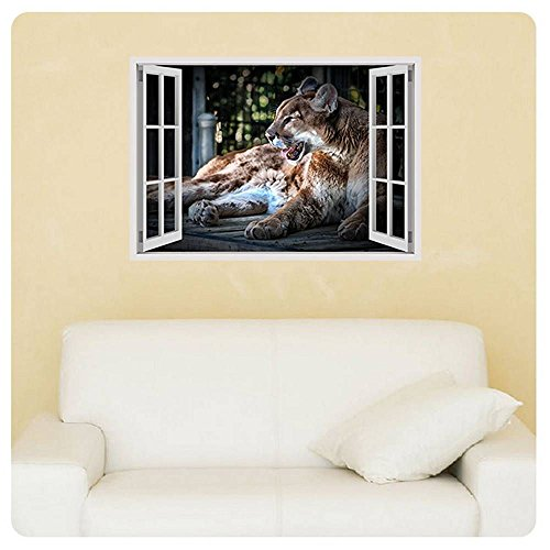 Alonline Art - Cougar Fake 3D Window Poster Prints Rolled Print on Fine Photo
