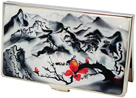 Visitenkartenetui asiatische Landschaft, Bergen und Flüssen. Hart etui aus Edelstahl, für 15-20 Karten, Geschenk für Mitarbeiter