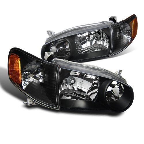 Black Crystal Jdm - Spec-D Tuning 2LCLH-COR01JM-DP Toyota Corolla JDM Crystal Black Headlights With Amber Corner Signal Lights