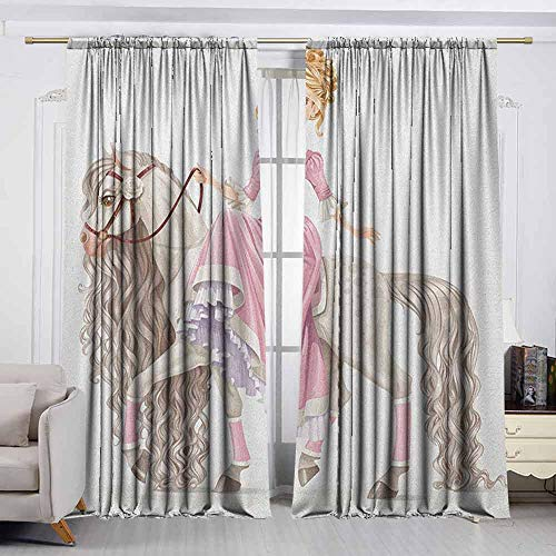 VIVIDX Blackout Window Curtain,Teen Girls,Pretty Smiling Princess on A White Horse with A Long Mane Happiness Theme Print,Decor Thermal/Room Darkening Window Curtains,W55x39L Inches Cream Pink