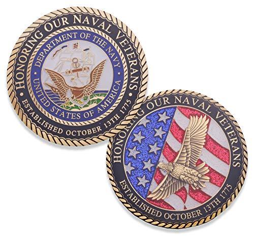 Navy Veteran Challenge Coin - USN Military Vet Challenge coin - Designed by US Military Veterans FOR Veterans!