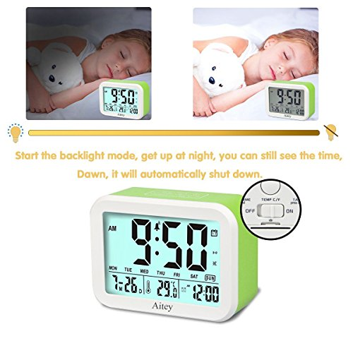 Digital Alarm Clock, Aitey Talking Clock with 3 alarms, Optional Weekday Alarm, Intelligent Noctilucent & Snooze Function, Month Date & Temperature Display for Adults, Kids & Teens (Green) by Aitey (Image #4)
