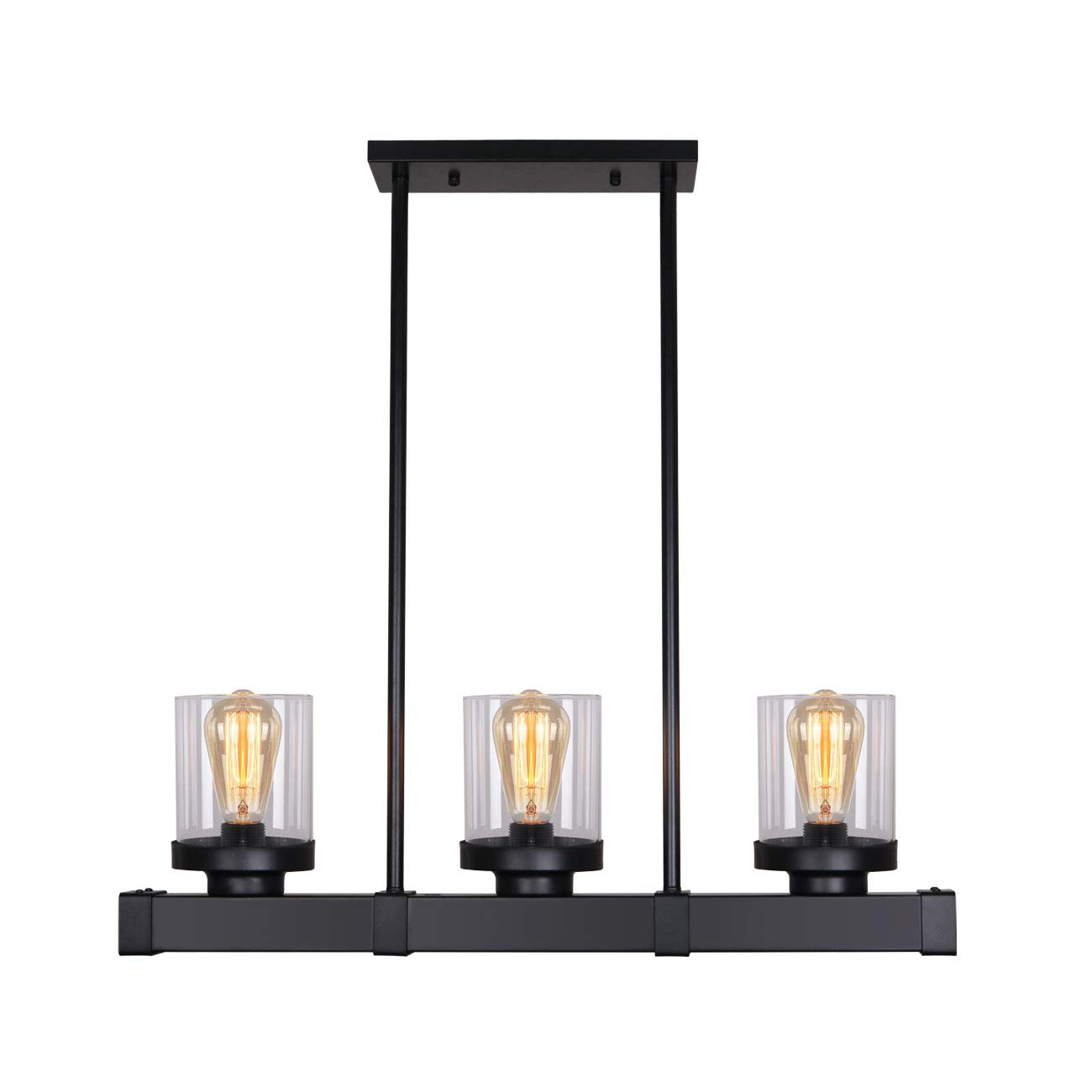 Unitary Brand Antique Black Metal Glass Shade Kitchen Island Light Fixture with 3 E26 Bulb Sockets 120W Painted Finish