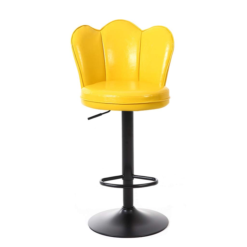 Yellow 4055cm WQZB-Swivel Chair 360° Swivel Breakfast Bar Stool Kitchen Pub Chair Counter Adjustable Height Soft Seat Exquisite Backrest Max Load 120kg (color   Yellow, Size   4055cm)