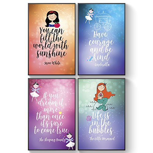 Pillow & Toast Fairy Tale Advice for Girl, Bedroom Decor Posters, Set of 4 Princess Wall Art, Motivational and Inspirational Quotes, Magical Wall Decals for Girls