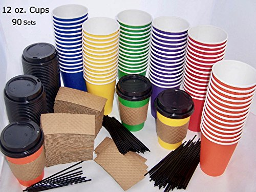 90 Colored Disposable Coffee Cups with Lids, 12oz Paper Coffee Cups To Go with Sleeves and Stirrer Straws. 6 Color Party Cups for Weddings, To Go Cups for Hot Coffee, Iced Coffee, Tea, Hot Chocolate