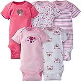 Gerber Baby Girls' 5-Pack Variety Onesies Bodysuits, Little Pink Flowers, 6-9 Months