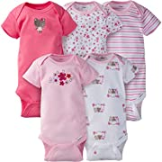 Gerber Baby Girls 5 Pack Onesies, Little Flowers, Newborn