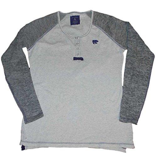 Antigua Kansas State Wildcats Women Gray Long Sleeve 4 Snap T-Shirt (M)
