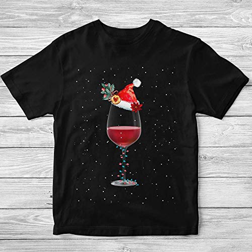 (Love-Wine Santa-Hat Christmas Wine Drinking Team Customized Handmade T-shirt Hoodie/Sweater / Long Sleeve/Tank Top/Premium T-shirt)