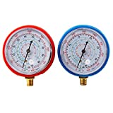 CarBole Refrigerant Low and High Pressure Gauge for Air Conditioner R410A R134A R22 PSI KPA- 2 Pack