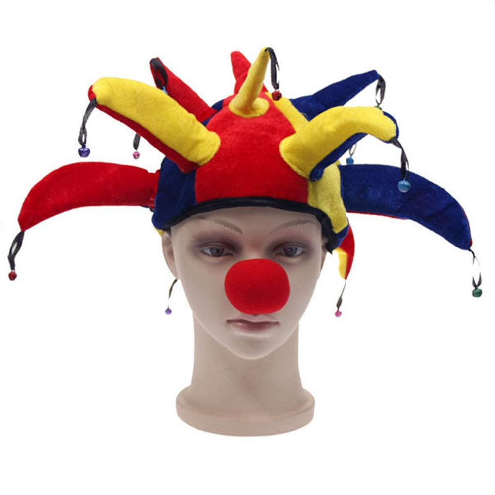 Multicolor Halloween Costume Party Supplies Props Jester Clown Hat with Nose ONE
