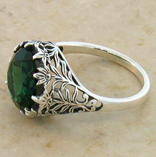 3.5 Carat SIM Emerald Antique Design .925 Sterling Silver Ring Size 7 KN-3444