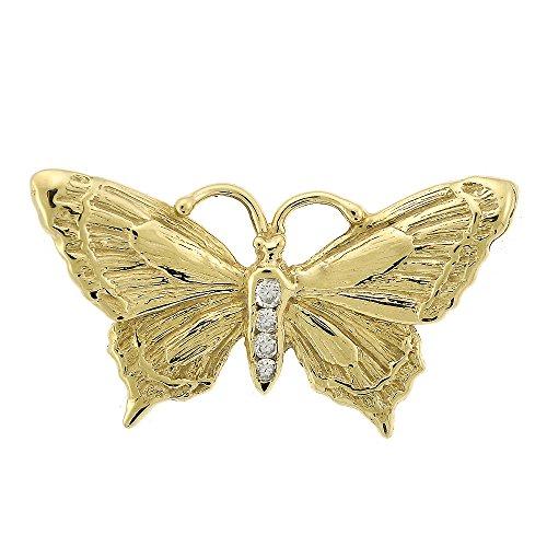 Avital & Co. 0.10 Carat Diamond Vintage Butterfly Pendant 14K Yellow Gold (Butterfly Brooch Pin Diamond)