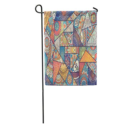 YhouqukehTshirt Garden Flag African Patchwork Pattern Vintage Indian Ottoman Motifs Unique Batik Home Yard House Decor Barnner Outdoor Stand 12x18 Inches Flag