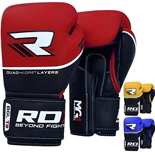 RDX Boxhandschuhe Sparring Rindsleder Training Kickboxhandschuhe Muay thai Sandsackhandschuhe Rot 10oz