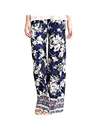 ADOSSAC Womens Wide Leg Yoga Palazzo Pants Casual Printed Drawstring Trousers,Women's Wide-Leg Pants Casual Trousers