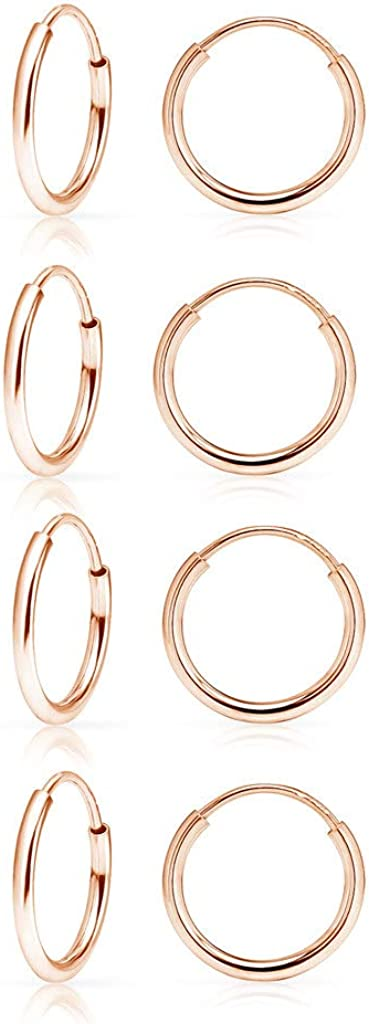 SolidSilver- Sterling Silver 10mm Endless Infinity Hoop Sleeper Earrings 2-5 pair sets |Silver, Rose & Yellow