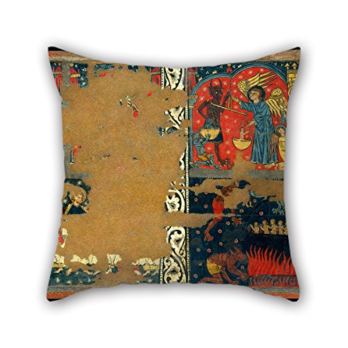 Throw Pillow Covers 18 X 18 Inch / 45 By 45 Cm(twice Sides) Nice Choice For Chair,outdoor,gf,office,relatives,teens Girls Oil Painting Master Of Soriguerola - Panel Of Saint Michael ()