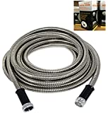 Buyplus 304 Stainless Steel Metal Garden Hose by 50-FT for Watering Lawn, Yard/Garden, Car Wash (50FT)
