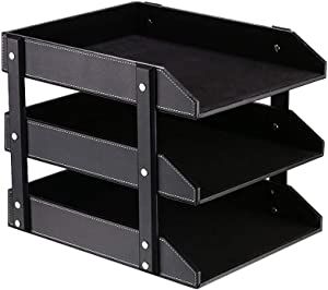 Desk 3 Tier File Document Letter Tray Organizer, Leather Office Supply Storage Holder for Desktop Storage Stacking Paper/Stationery/Magazine/Newspaper/Mail/Sundries (Black)
