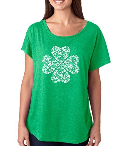 SignatureTshirts Women's Saint Patricks Day Irish Lucky 4 Leaf Clover Dolman T-Shirt (White Print) 2XL Green ()