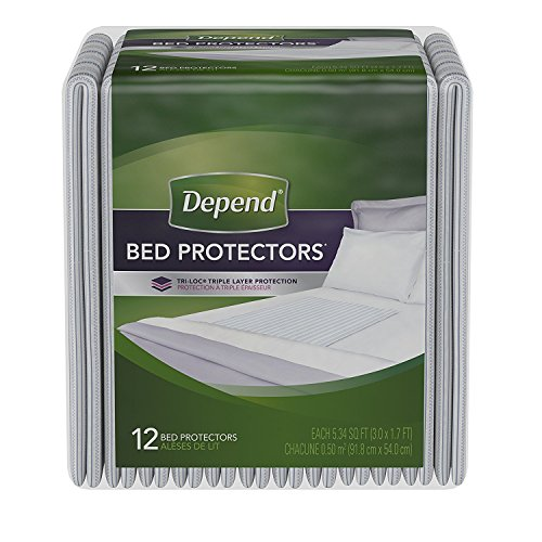 PACK OF 3 - Depend Incontinence Bed Protectors, Disposable Underpad, Overnight Absorbency, 12 - Absorbent Depend Super