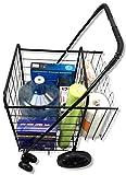 Premium Swivel Wheels JUMBO Folding Shopping Grocery laundry Cart with Extra Basket - BONUS: FREE CARGO NET