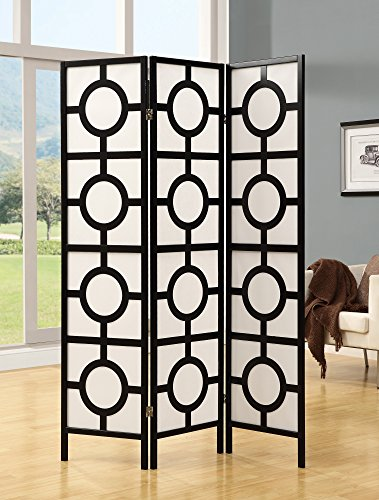 Monarch Specialties Frame 3-Panel Circle Design Folding Screen, Black (Room Circle Divider)