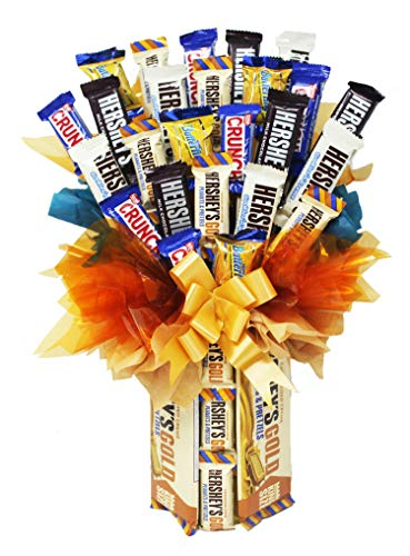 Chocolate Candy Bouquet | Hershey Gold King Size Candy Bars Make Up the Vase | Mini/Fun-Sized Candy Assortment Arranged on Top | Appreciation | Birthday | Get Well Soon Gift | Go For The Gold!