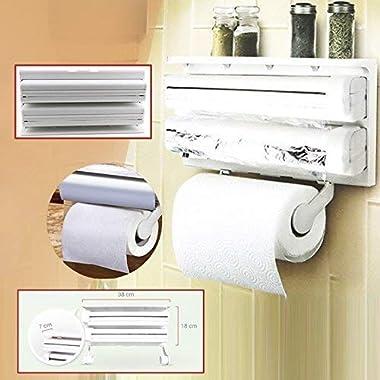 RYLAN Plastic Triple Tissue Paper Dispenser 4 in 1 Foil Cling Film Tissue Paper Roll Holder for Kitchen Triple Paper Roll Dispenser and Holder for Tissue Paper Roll, Kitchen Tissue Holder Stand. 12