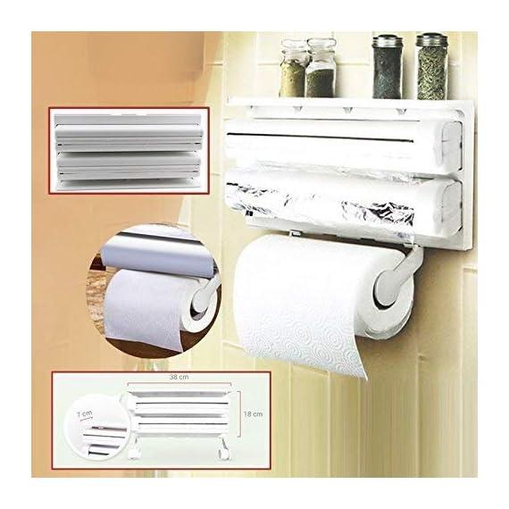 RYLAN Plastic Triple Tissue Paper Dispenser 4 in 1 Foil Cling Film Tissue Paper Roll Holder for Kitchen Triple Paper Roll Dispenser and Holder for Tissue Paper Roll, Kitchen Tissue Holder Stand. 6