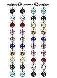 Finrezio 20 Pairs 6MM Colorful Crystal Magnetic Earrings Set for Men Women Non Pierced Earrings Fake Stud Earrings