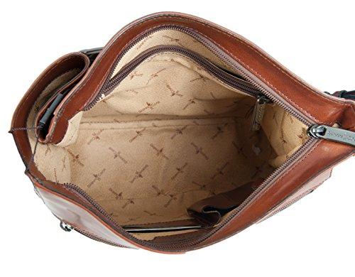 Conti Brun Clair Fin de toilette Grand sac à main bandoulière en cuir italien 903444