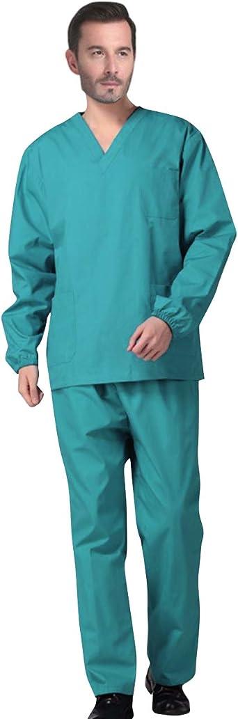 AIEOE Hombre Mujer Uniformes Cuello en V Manga Larga Ropa Sanitaria de Algodón Casaca y Pantalones con Cordón Ajustable para Enfermería Limpieza SPA