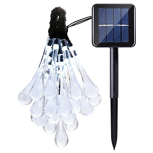 Solar Outdoor String Lights, Icicle 15.7ft 8 Light Modes 20 LED Water Drop Fairy String Lighting for Indoor/Outdoor Patio, Lawn, Garden, Party, Wedding, Christmas, and Holiday Decorations (White)