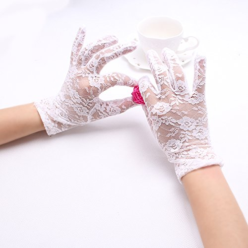 Pyrsun(TM) Sexy Lady Sun Protection Fashion Accessories Woman's Hollow Flower Pattern Lace Party Gloves Girls Full Finger Mitten Glove
