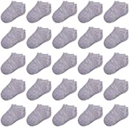 Duufin 25 Pairs Toddler Ankle Socks Low Cut Kids Half Cushion Socks Low Rise Ankle Socks for Boys and Girls