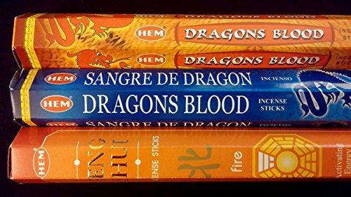 FANTASY Dragons Blood Blue Fire 60 HEM Incense Sticks 3 Scent Sampler Gift Set