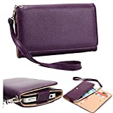 NuVur Universal Wallet Clutch Wrislet ::Smartphone:: Case Fits Micromax A59 Bolt, A65 Bolt, Canvas Fun A74, Pep Q371 Purple