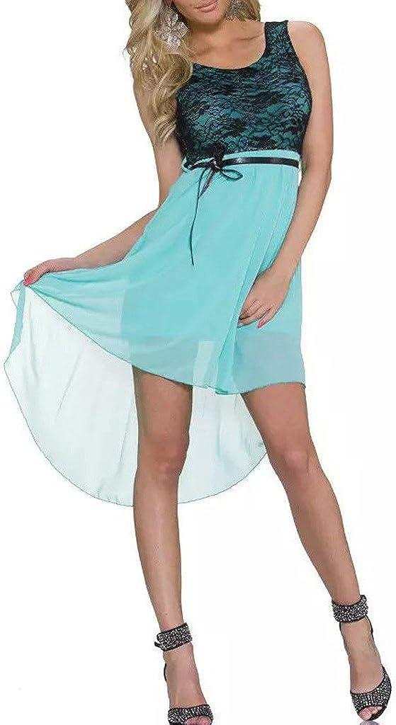 Relaxlama Womens Lace Bra Sleeveless Hi-Low Chiffon Clubwear Party Wear