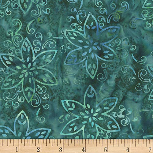 Anthology Batiks Jacqueline de Jonge Magical Giggles Floral Teal Fabric Fabric by the -