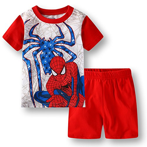e7ae3b44 Boys Pajamas 100% Cotton Spiderman Short Kids Snug Fit Pjs Summer Toddler  Sleepwear